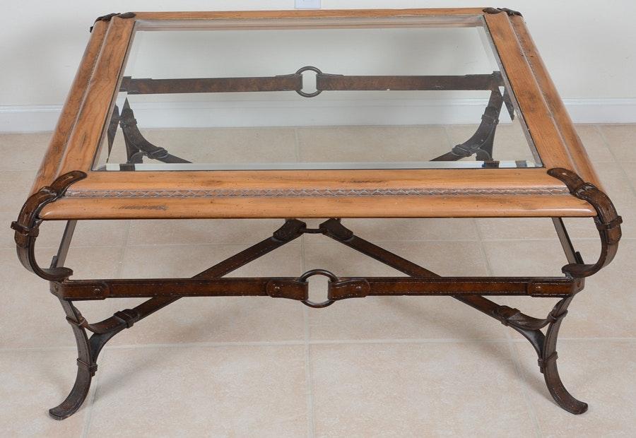 Equestrian Motif Custom Made Glass Top Coffee Table Ebth