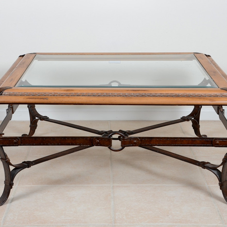 Fantastic Equestrian Motif Custom Made Glass Top Coffee Table Pabps2019 Chair Design Images Pabps2019Com
