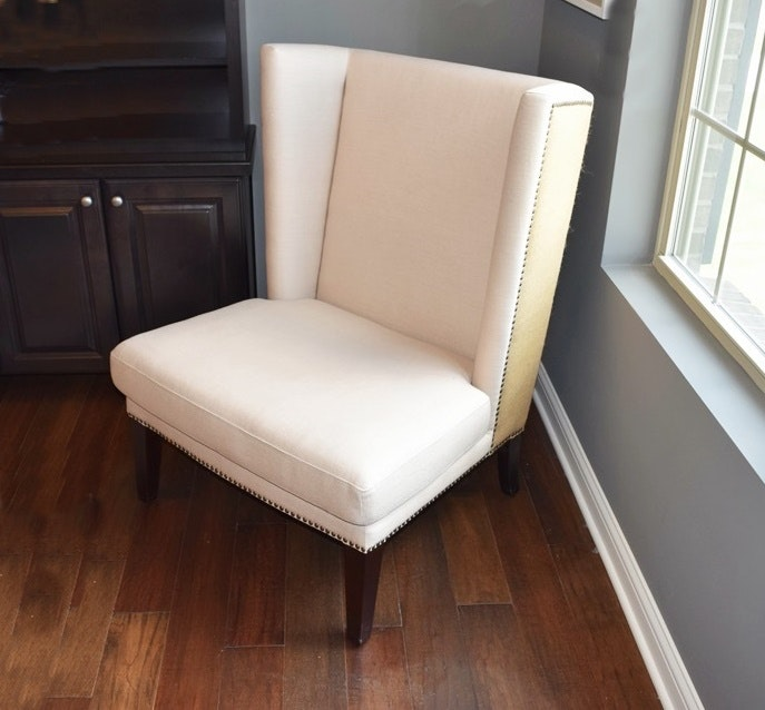 Contemporary Wing Chair In Linen And Burlap Ebth