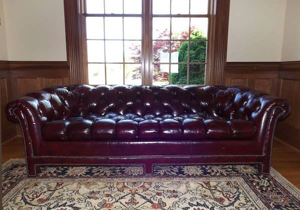 Classic Chesterfield Sofa In Oxblood Glazed Leather Ebth