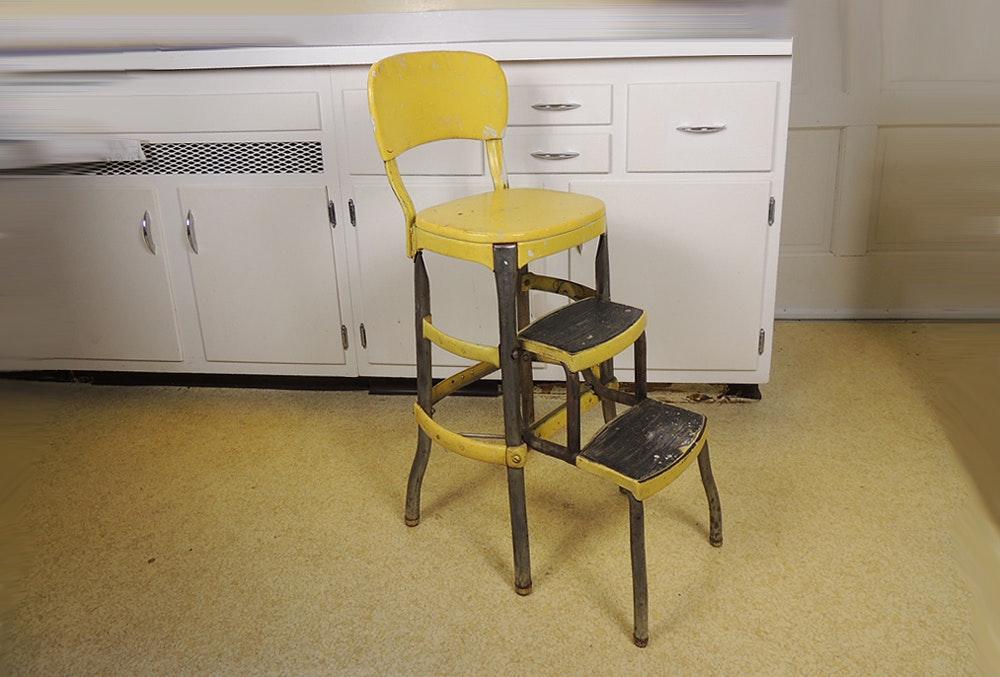 Vintage Cosco Metal Step Stool Chair Ebth