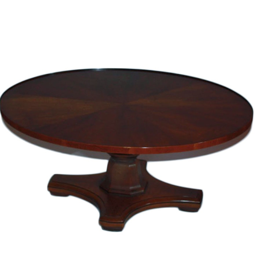 Henredon Walnut Pedestal Coffee Table Ebth