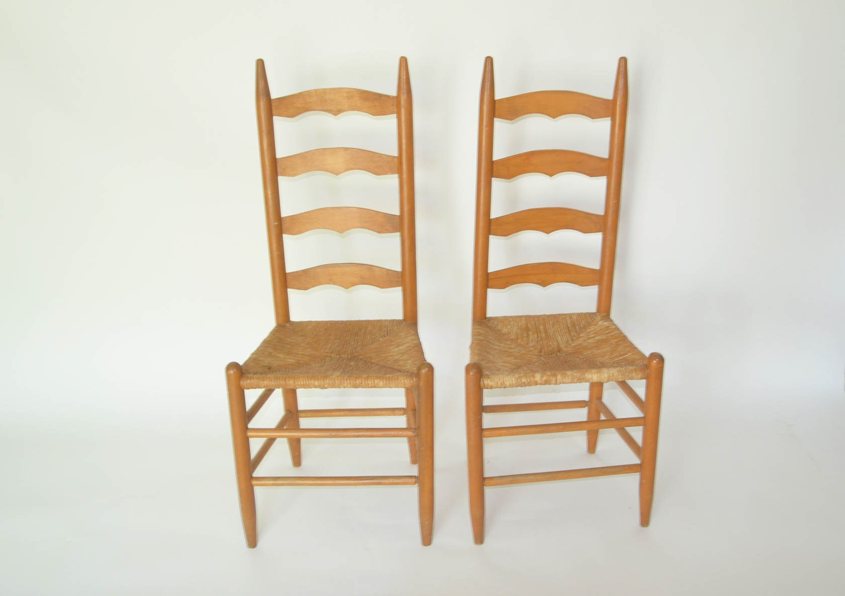 Pair Of Rush Seat Ladder Back Chairs ...