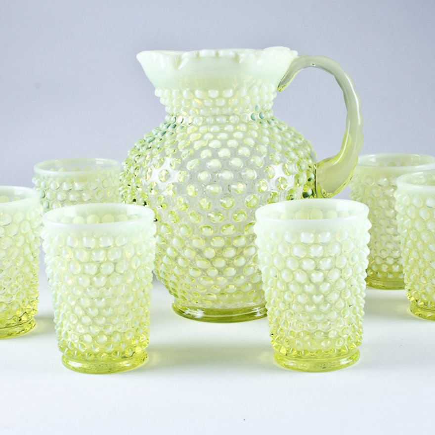 Fenton Pitcher with Glasses