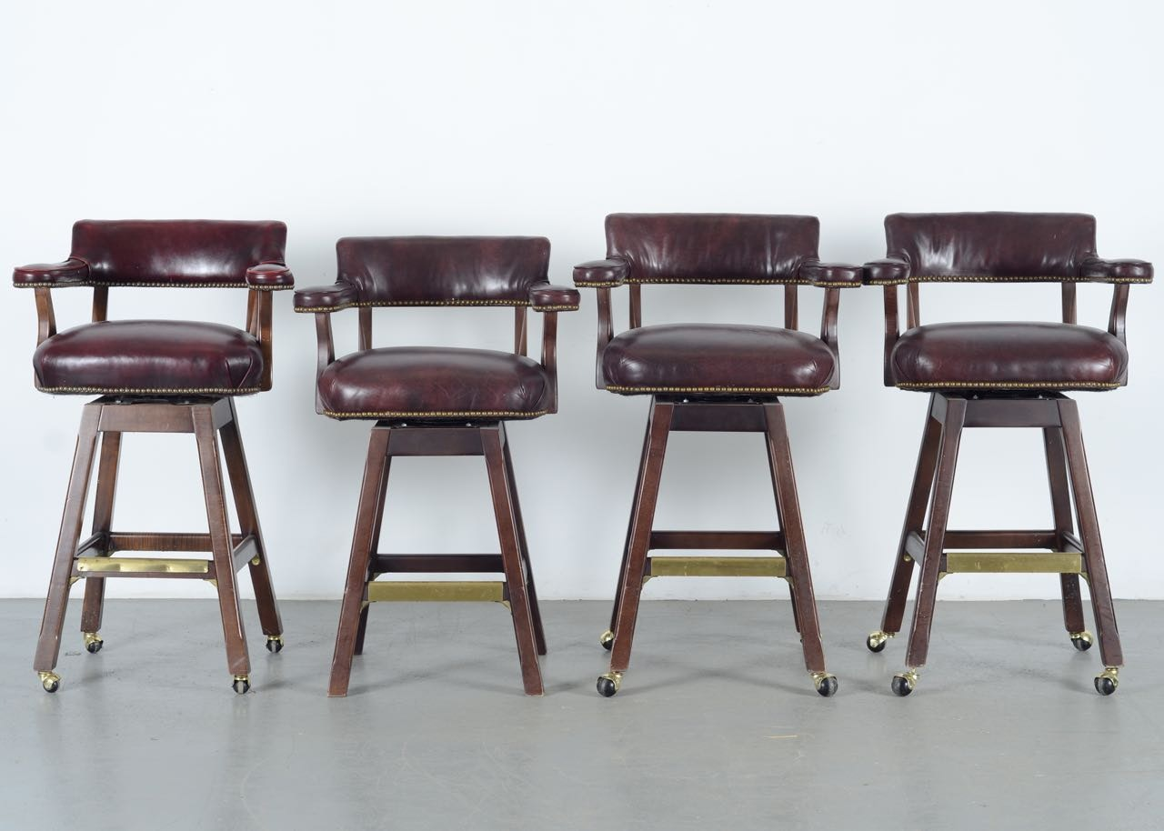 Four Old Hickory Tannery Bar Stools Ebth