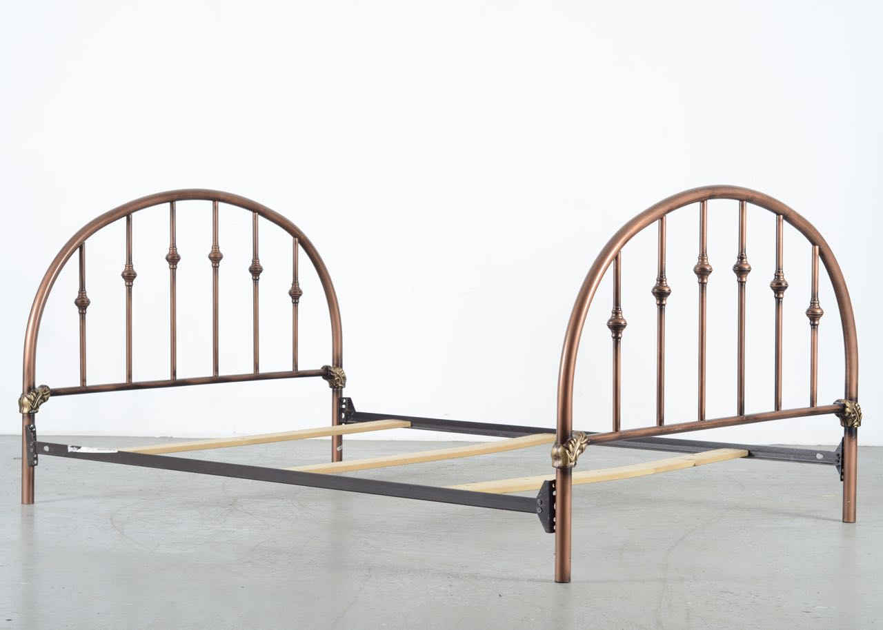 Metal Bed Frame with Antique Copper Finish EBTH