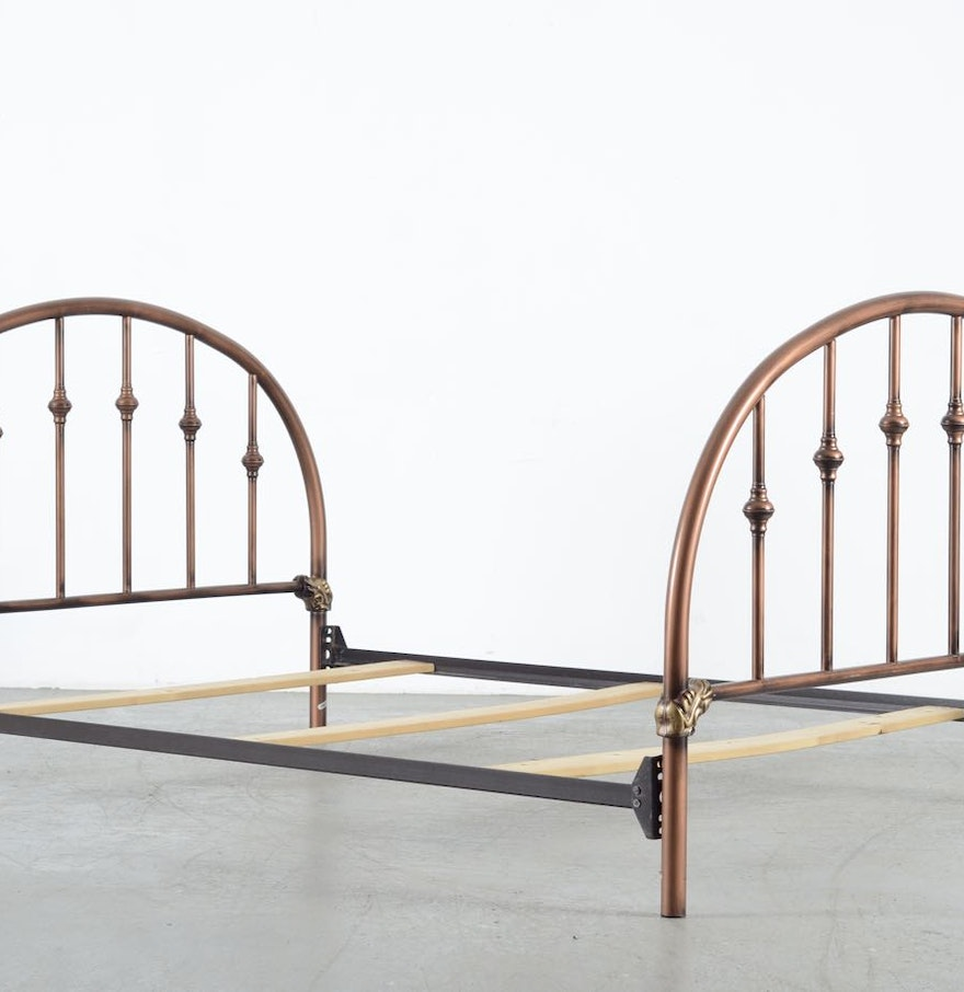 metal bed frame with antique copper finish