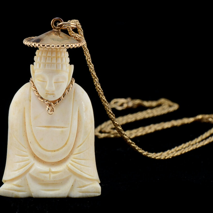 Vintage 14k yellow gold necklace with hand carved ivory buddha ebth vintage 14k yellow gold necklace with hand carved ivory buddha mozeypictures Images