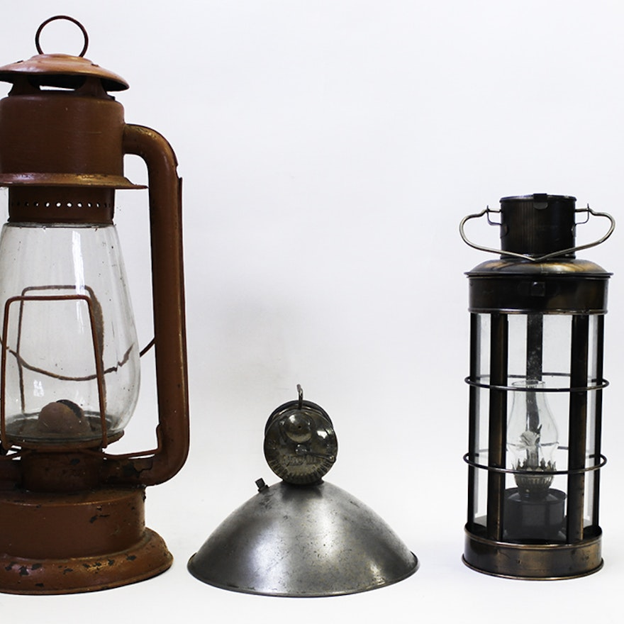 Trio Of Metal Non Electric Lamps