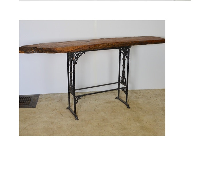 vintage wrought iron console table with red oak slab top