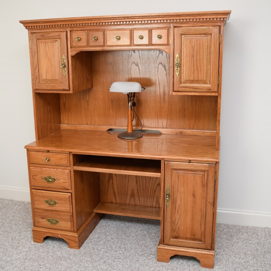 Golden Oak Computer Desk Hutch With Lamp