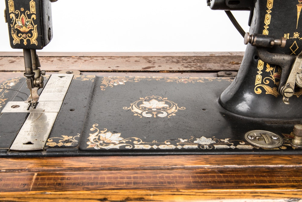 antique white sewing machine table