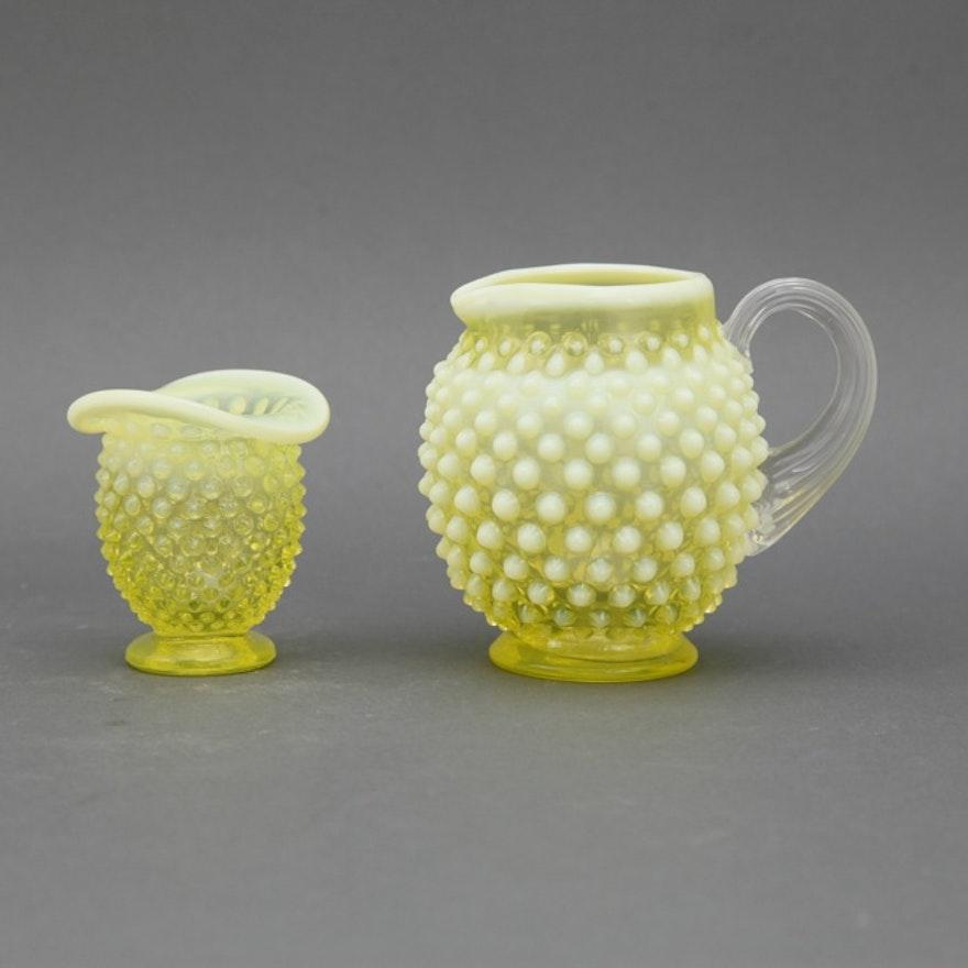 Fenton Vaseline Glass Pitcher And Bud Vase Ebth