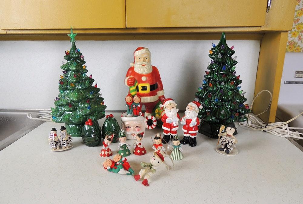 Vintage Paper Christmas Ornaments And Blow Mold Santa Ebth