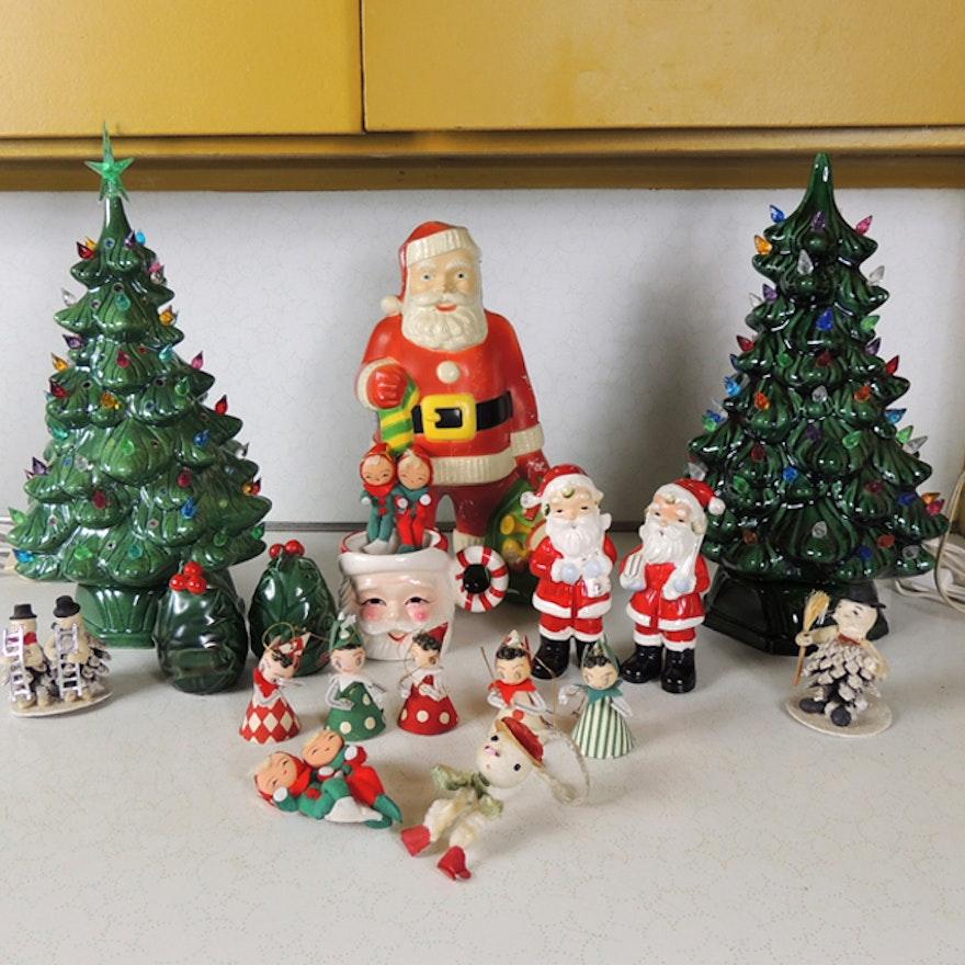 Vintage Paper Christmas Ornaments And Blow Mold Santa