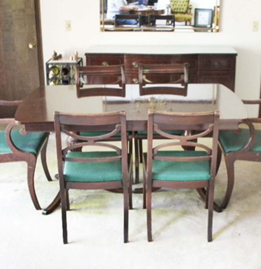 RWay Double Pedestal Dining Table And Six Chairs