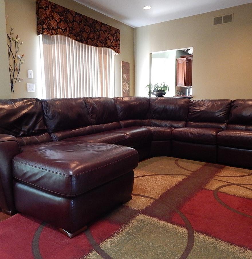 Burgundy Leather Sectional Sofa Ebth