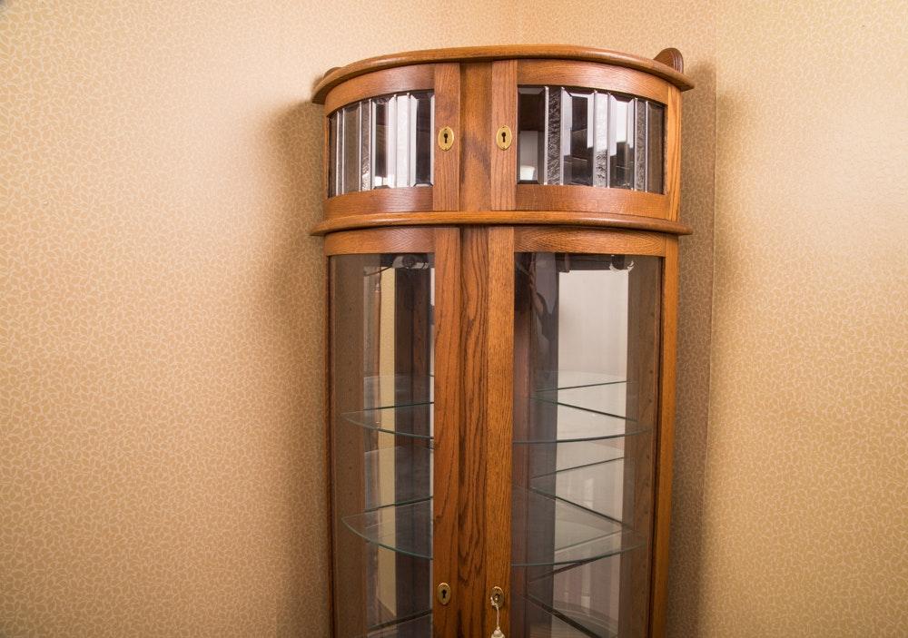 Red Oak Lighted Corner Curio Cabinet ...