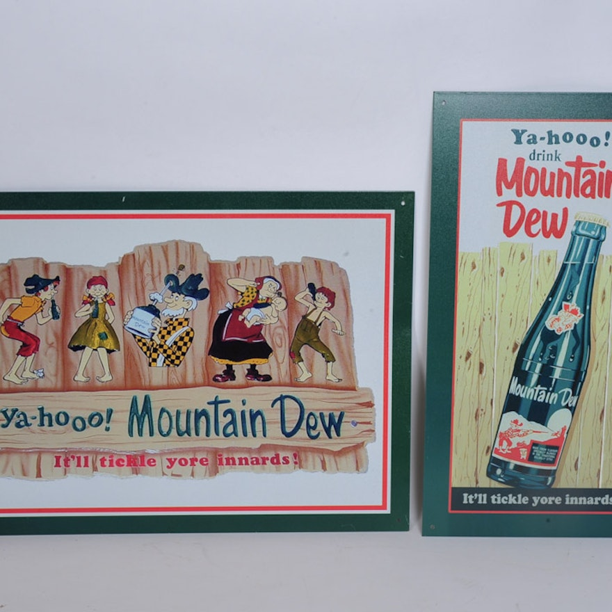 Reproduction Mountain Dew Metal Signs