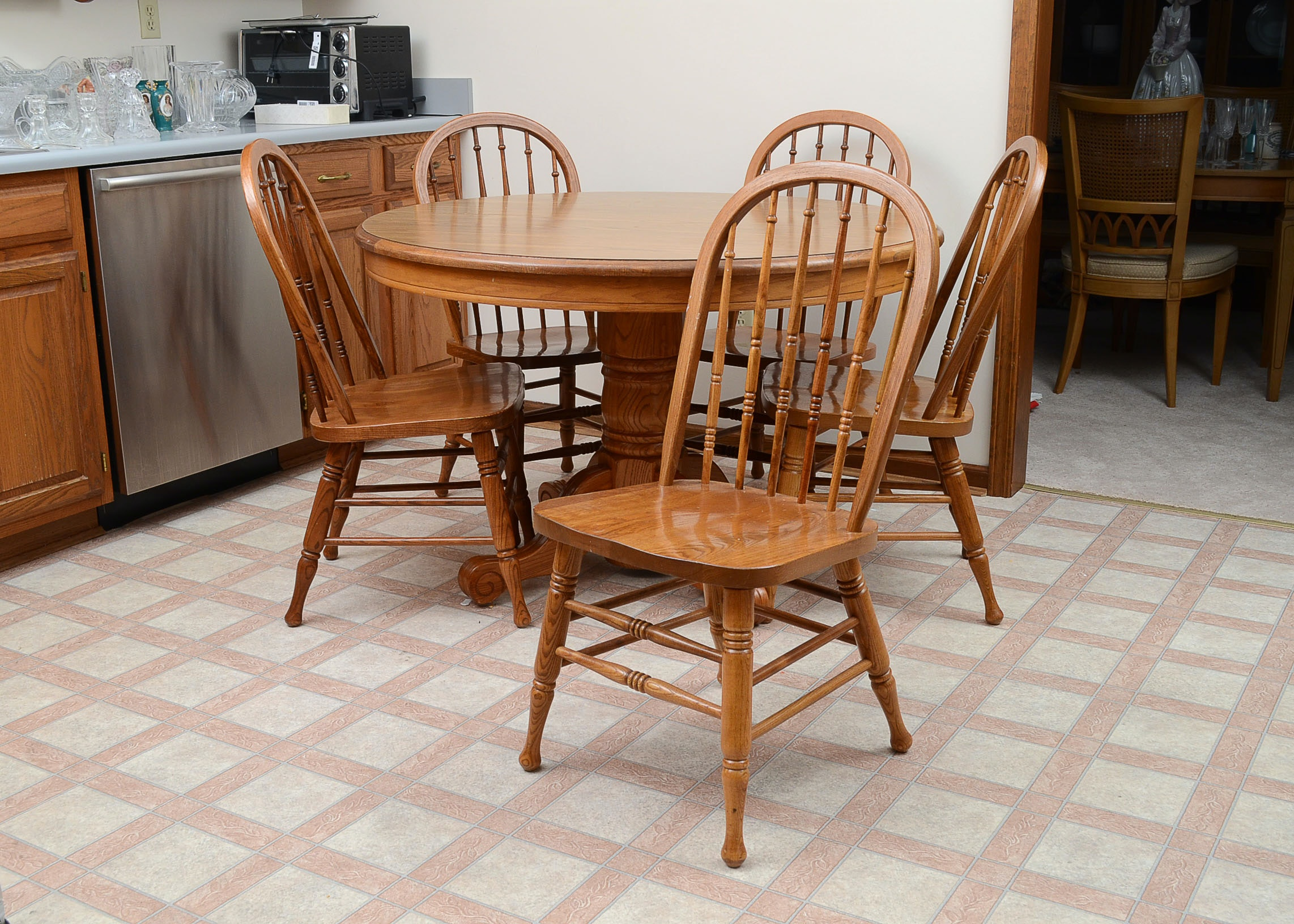 Maple Kitchen Table With Chair And Bench Ebth: Kitchen Table And Chairs By Walter Of Wabash : EBTH