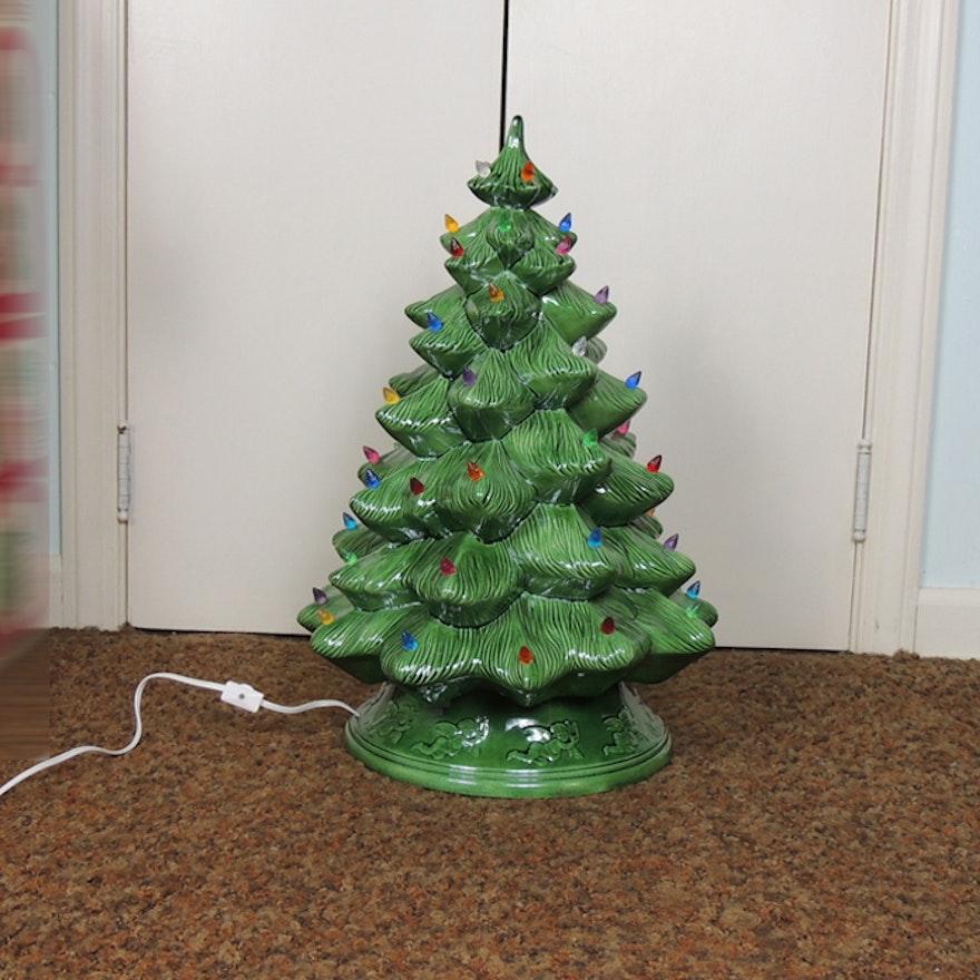 Vintage Cramer Mold Ceramic Christmas Tree With Angel Motif Base