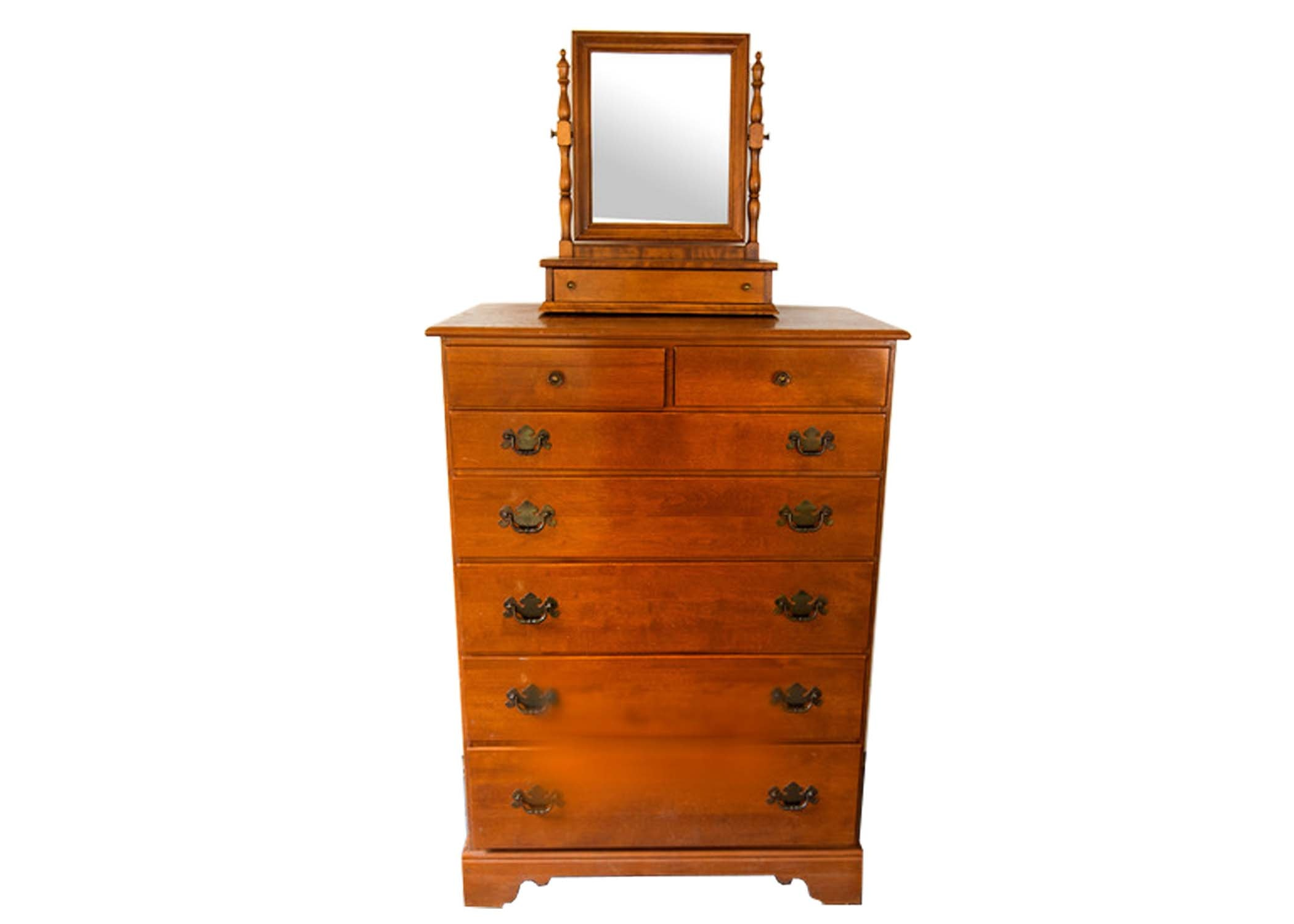 Vintage Ethan Allen Chest Of Drawers And Table Top Mirror ...