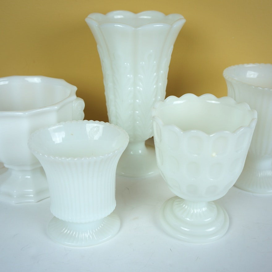 E O Brody Co Milk Glass Vases Ebth