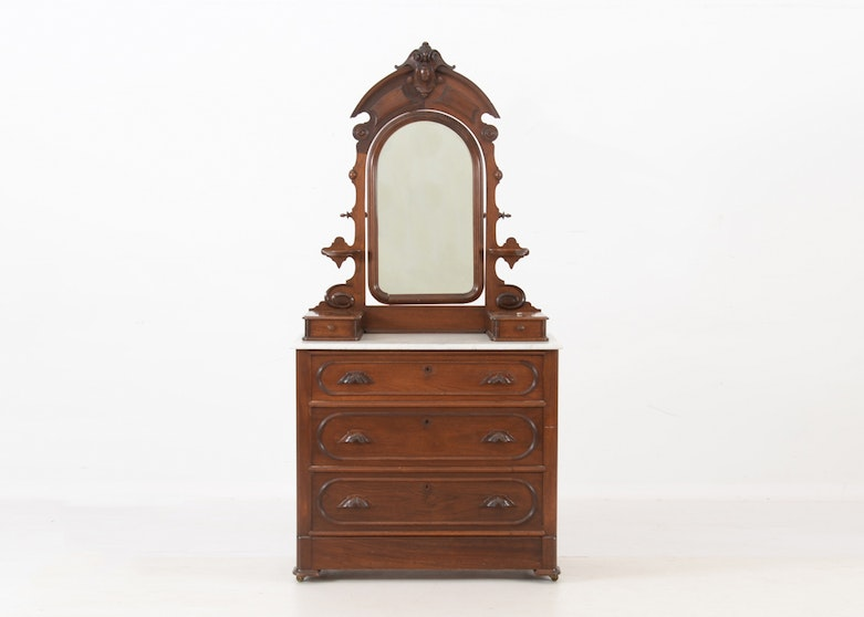 Late 1800s Victorian Marble Top Carved Walnut Chest and Mirror - Online Furniture Auctions Vintage Furniture Auction Antique