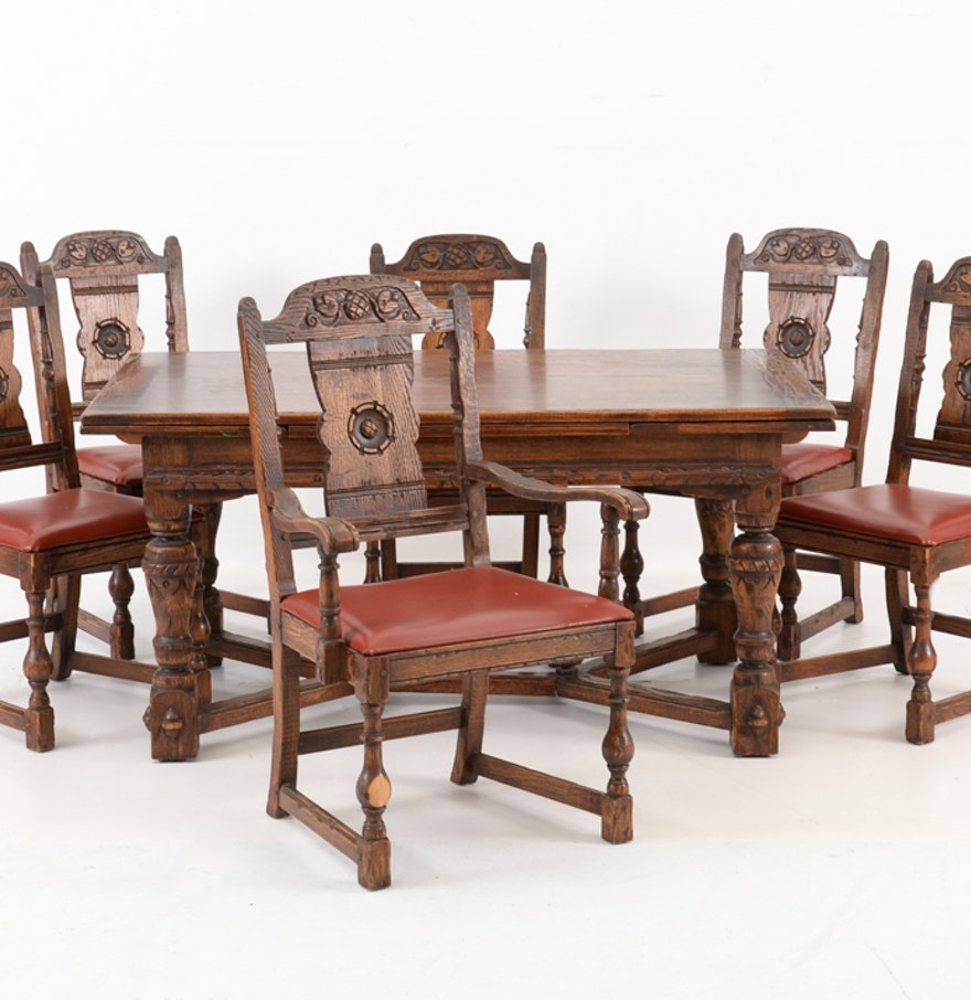 Oak Dining Table And Chairs: Vintage Tudor Style Oak Dining Table And Six Chairs : EBTH