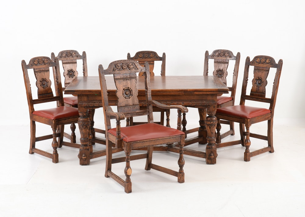 Vintage Tudor Style Oak Dining Table And Six Chairs ...
