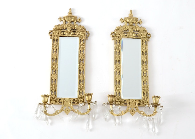 Pair of Black and Gold Candle Wall Sconces : EBTH