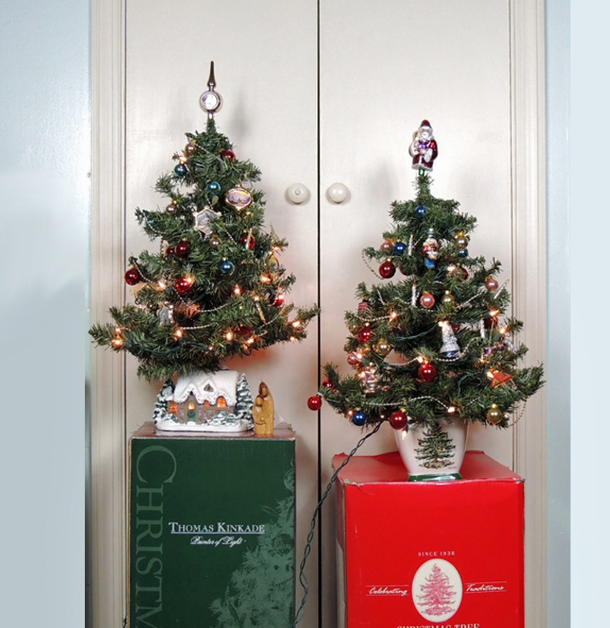 Spode And Thomas Kinkade Christmas Trees Ebth