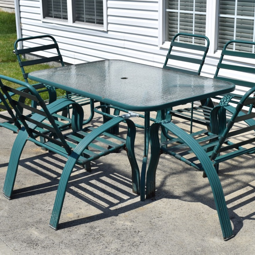 Green Metal And Glass Patio Table And Chairs