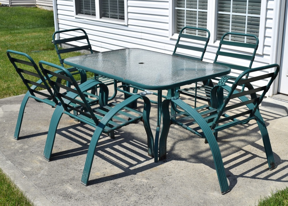 Green Metal And Glass Patio Table And Chairs ...
