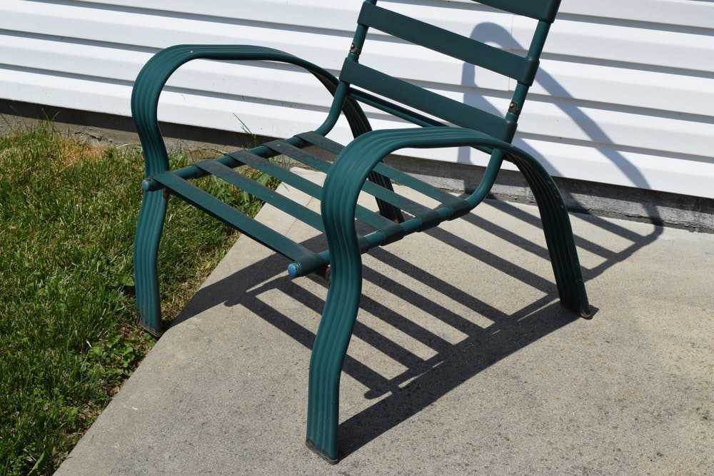 Green Metal And Glass Patio Table And Chairs Ebth