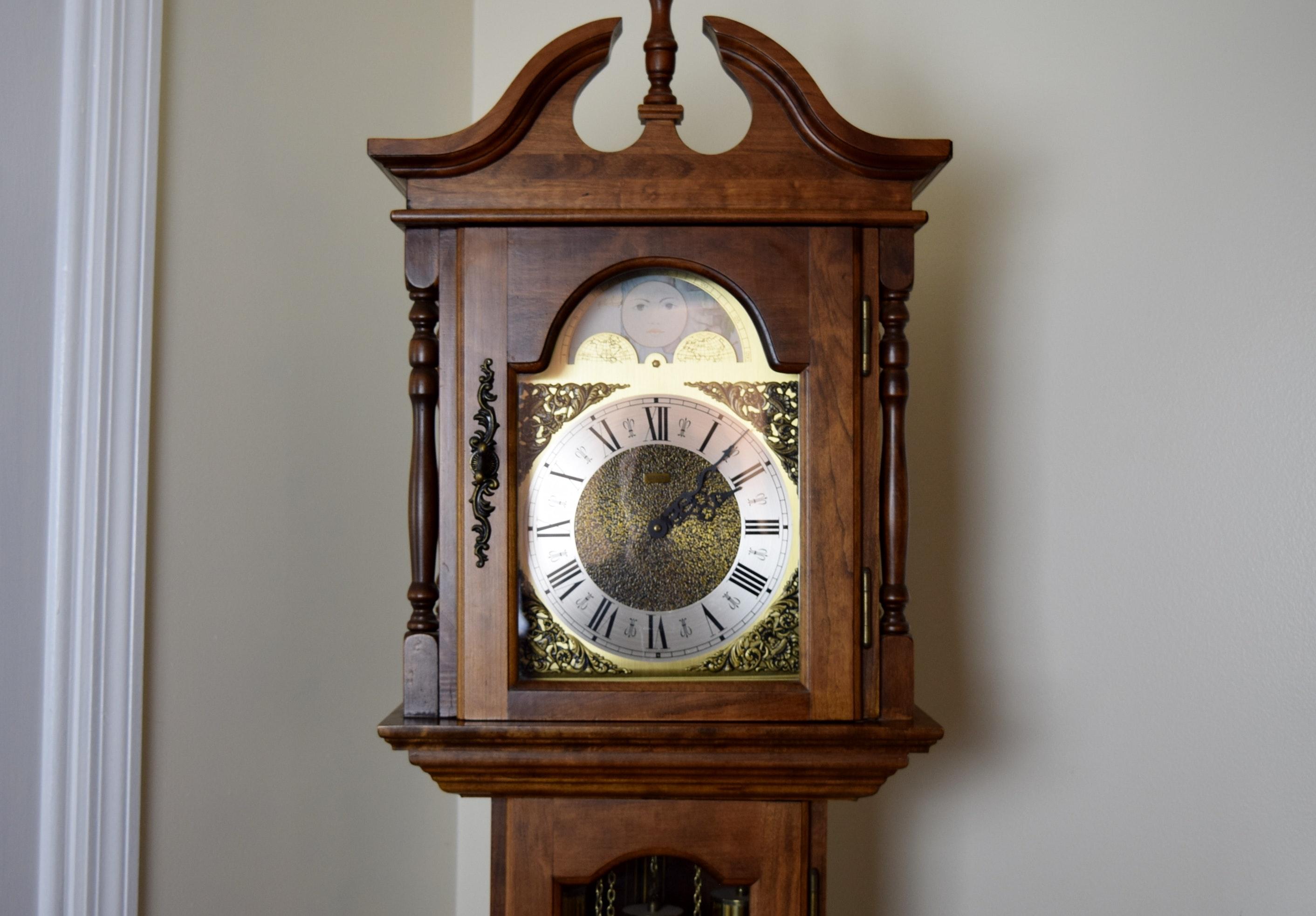 Cherry Wood Emperor Grandfather Clock Ebth