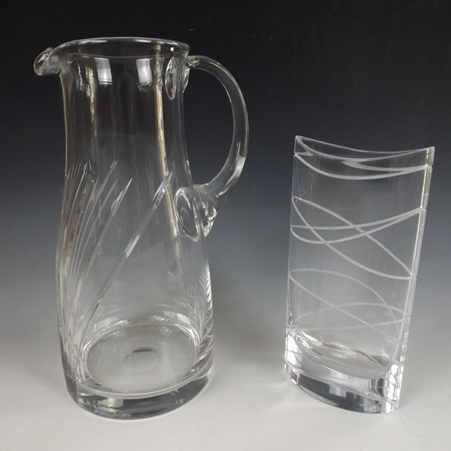 Nambe Vase And Modern Crystal Pitcher Ebth