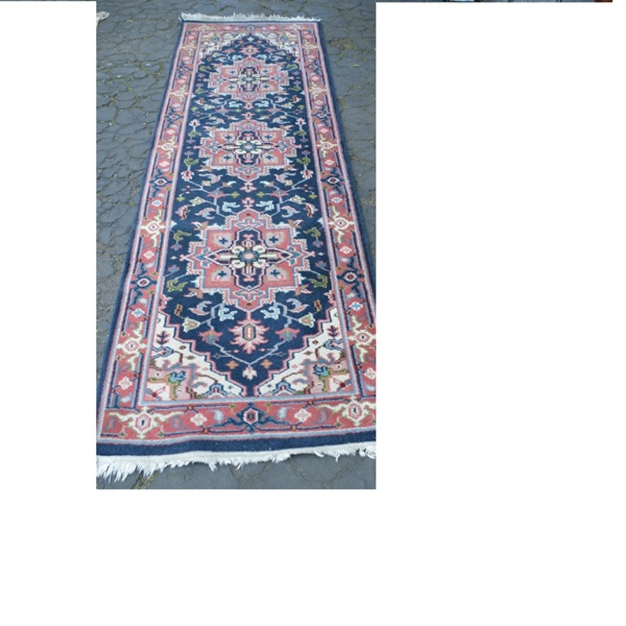 Persian Style Navy And Pink Wool Runner Rug