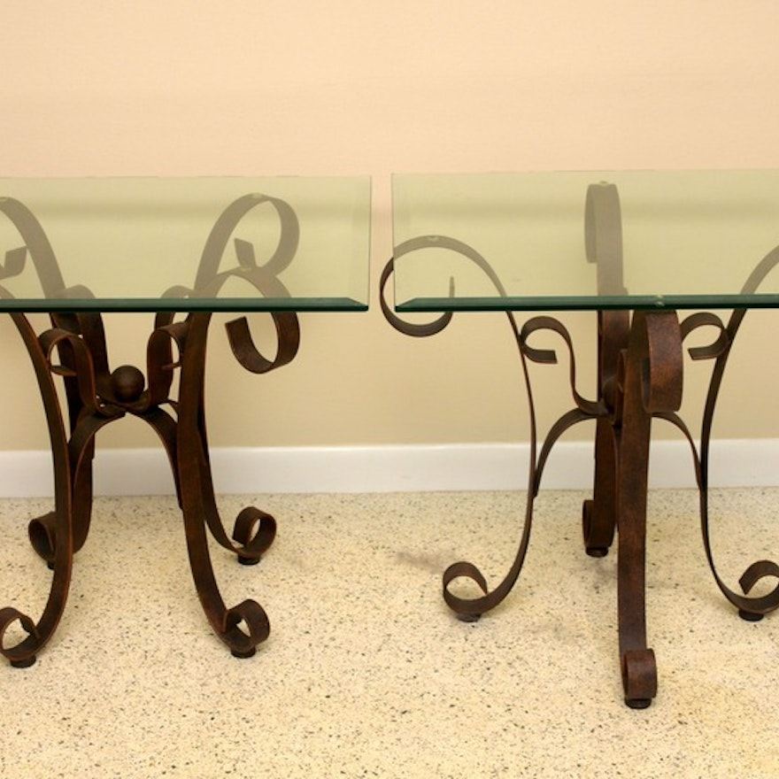 Wrought Iron And Gl End Tables