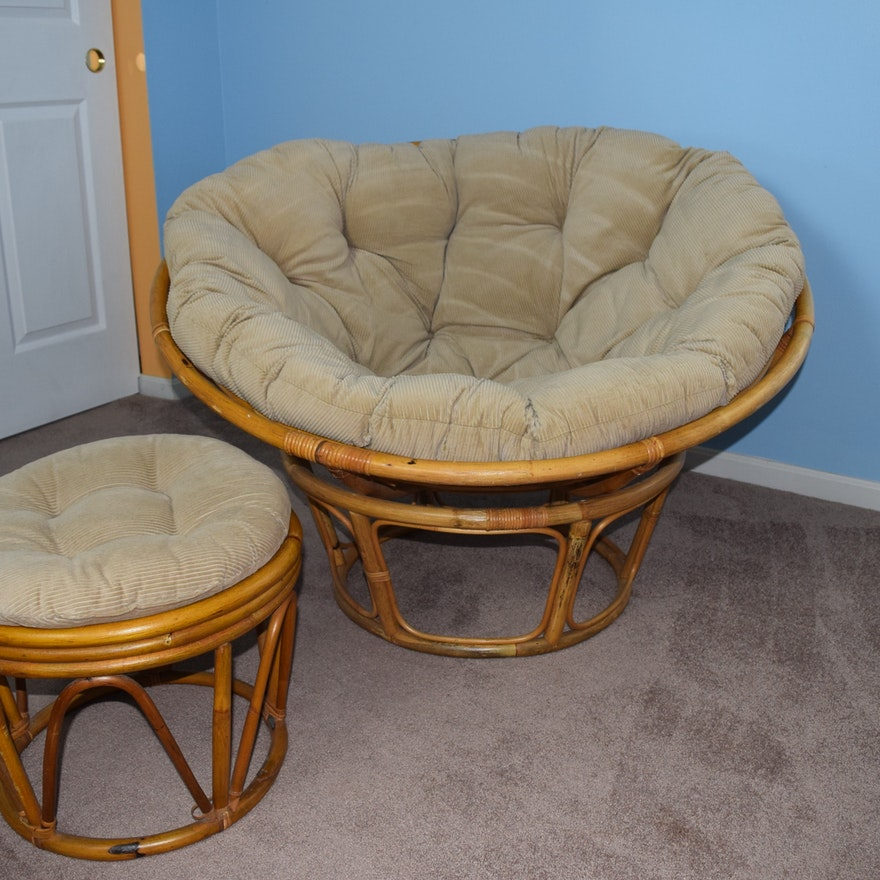 rattan papasan chair and ottoman with corduroy cushions ebth. Black Bedroom Furniture Sets. Home Design Ideas