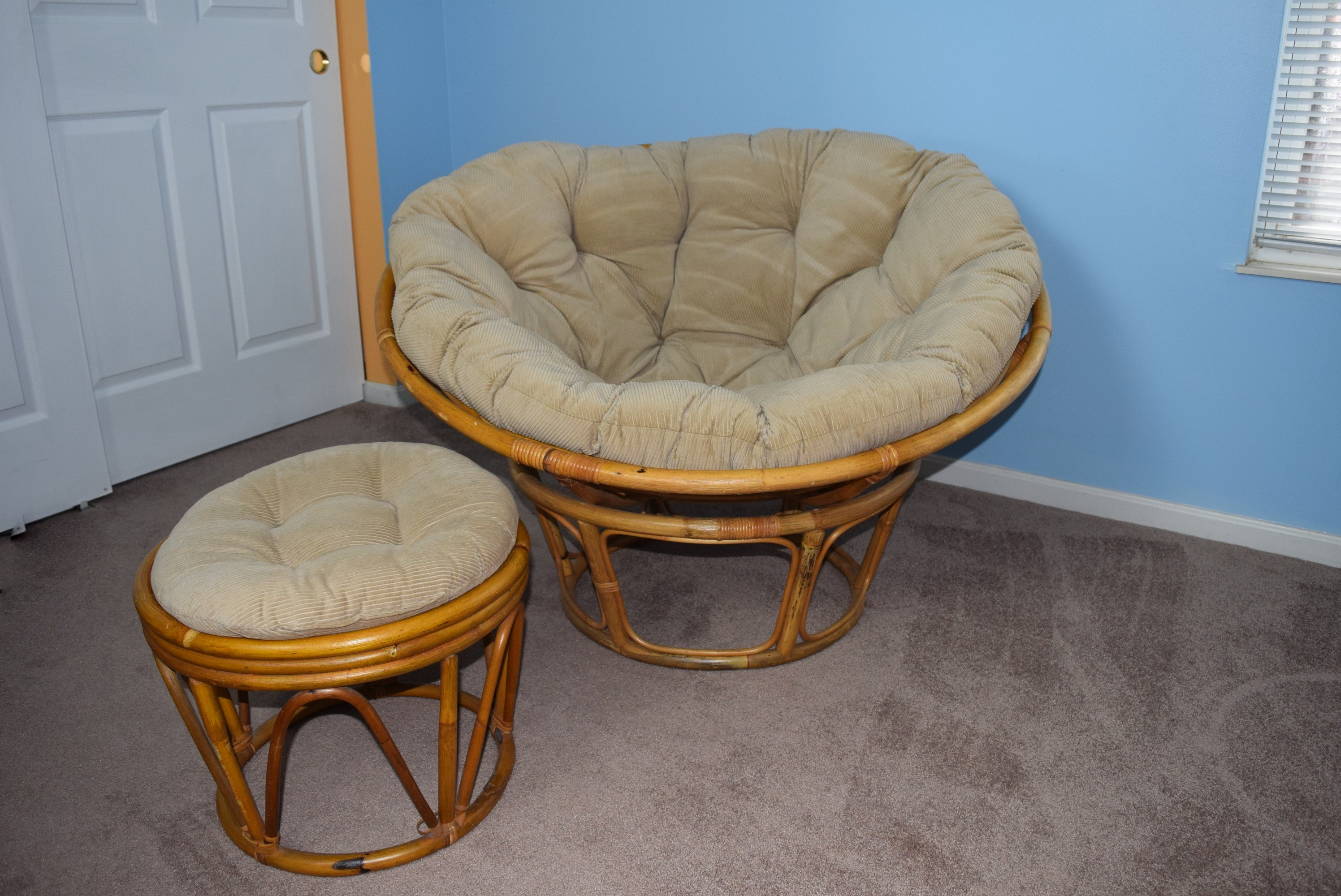 Good Rattan Papasan Chair And Ottoman With Corduroy Cushions ...