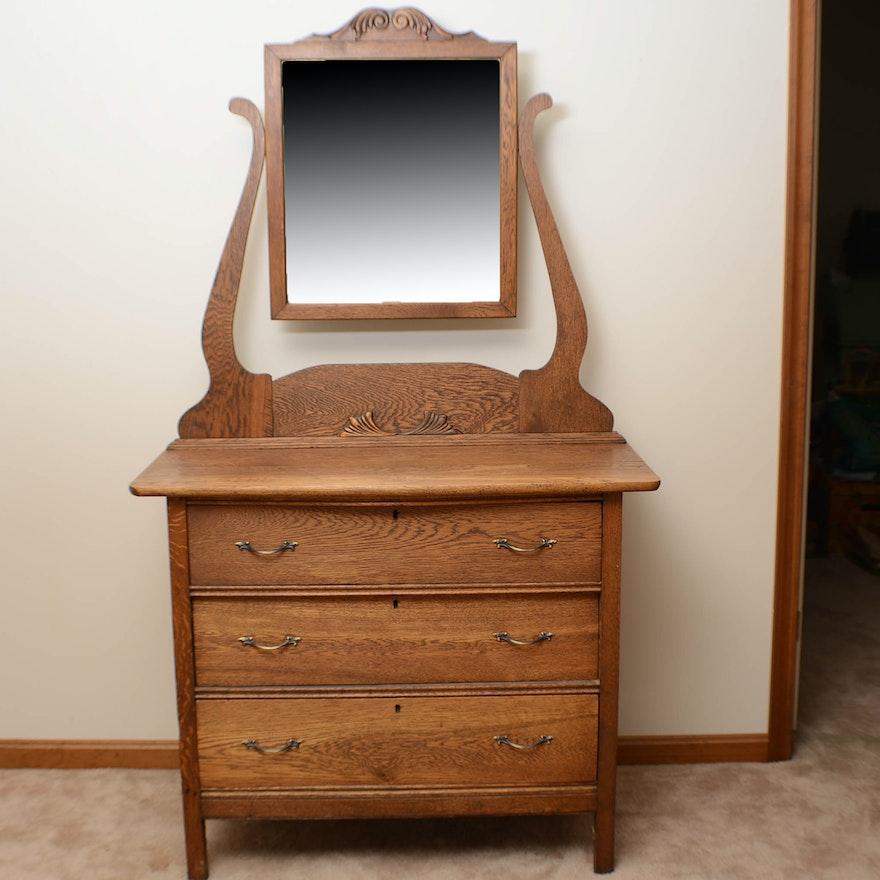 Vintage Oak Washstand And Mirror Ebth