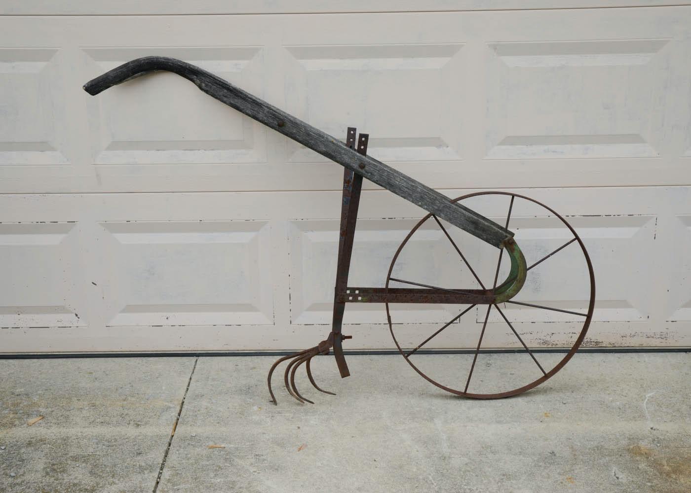 Vintage Wooden Push Plow