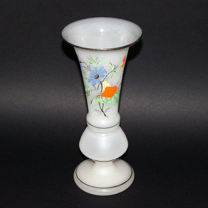 Vintage Hand Painted Frosted Glass Vase Ebth