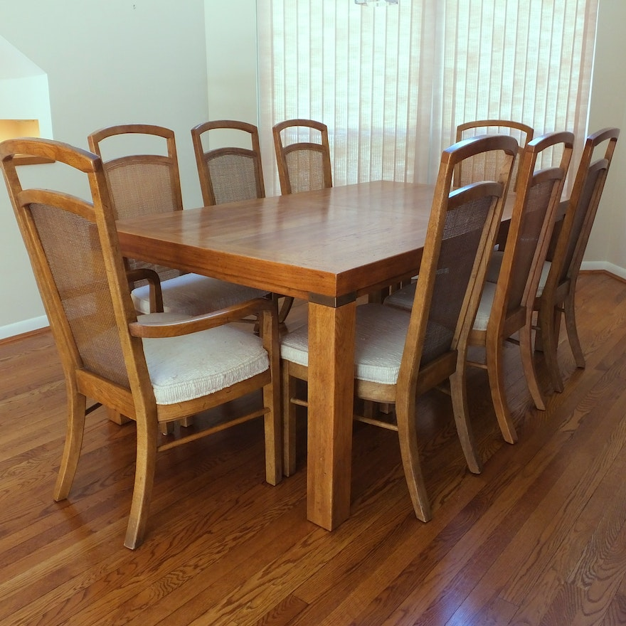 "Drexel Heritage Dining Room: Drexel Heritage ""Woodbriar"" Dining Table And Eight Chairs"