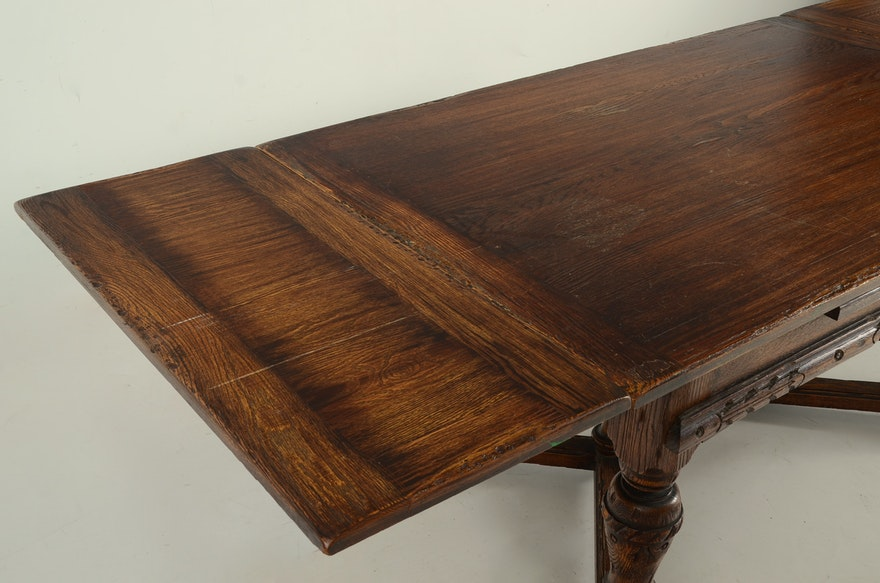 Vintage Tudor Style Oak Dining Table And Six Chairs Ebth