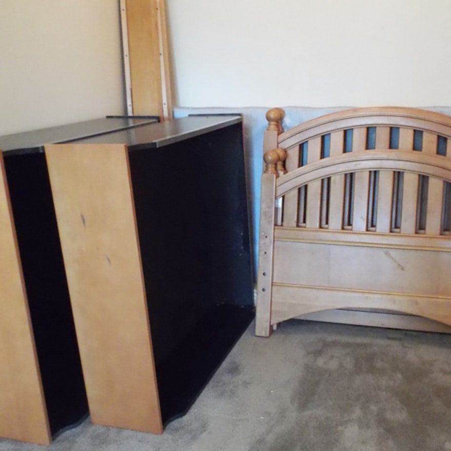 Two Stanley Maple Twin Beds Bunkbed With Trundle Drawers