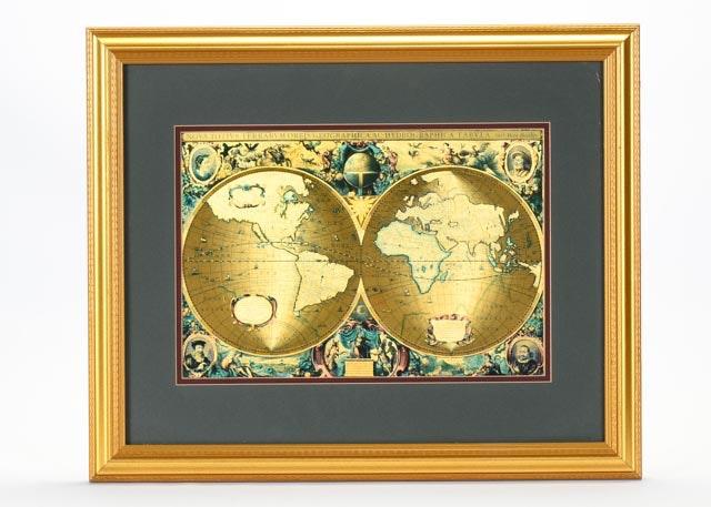 Gold Foil World Map Framed.Framed Latin Gold Foil World Map Ebth