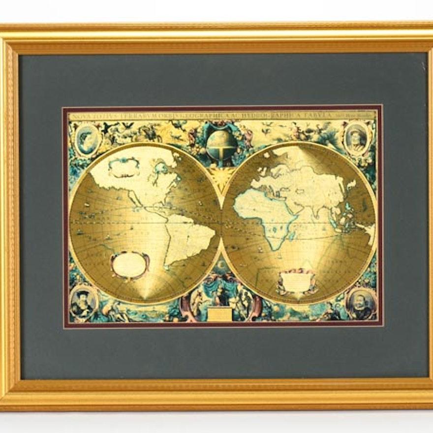 Framed latin gold foil world map ebth framed latin gold foil world map gumiabroncs Images