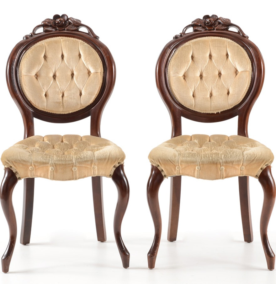 Victorian style furniture chair - Pair Of Kimball Cherry Victorian Style Side Chairs